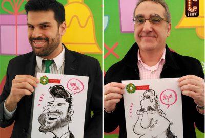 Caricaturas en fiesta de navidad