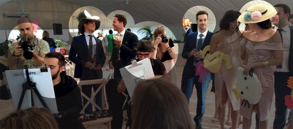 caricaturistas durante la barra libre de la boda