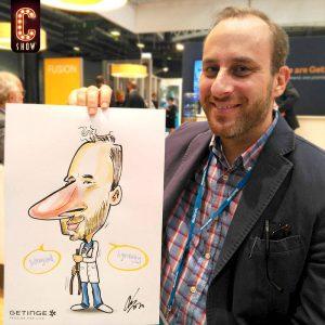 Caricatura en color evento Barcelona