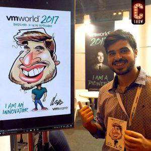 Caricatura en iPad en VMworld