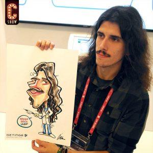Caricaturista en congreso de empresa