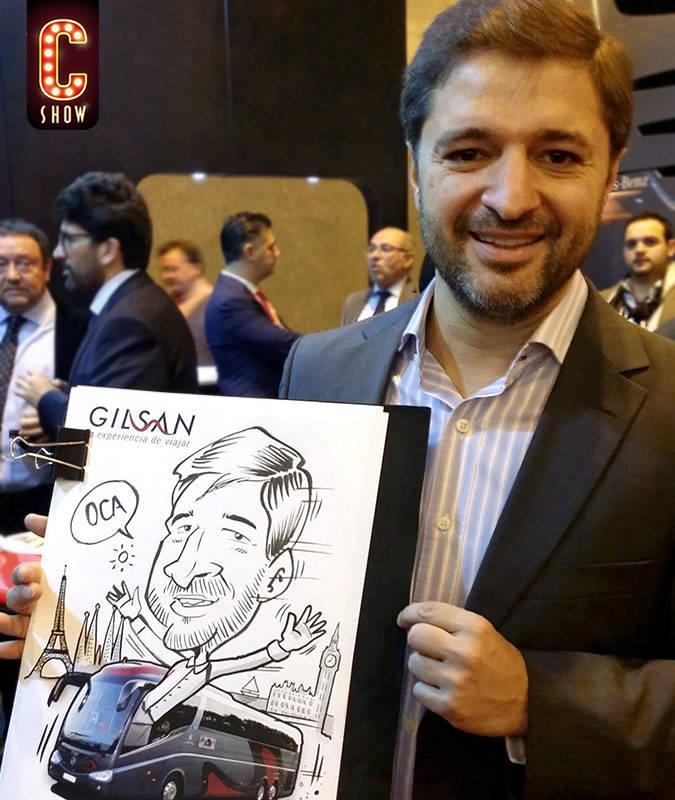 Caricaturista en vivo Madrid Fitur Feria Internacional