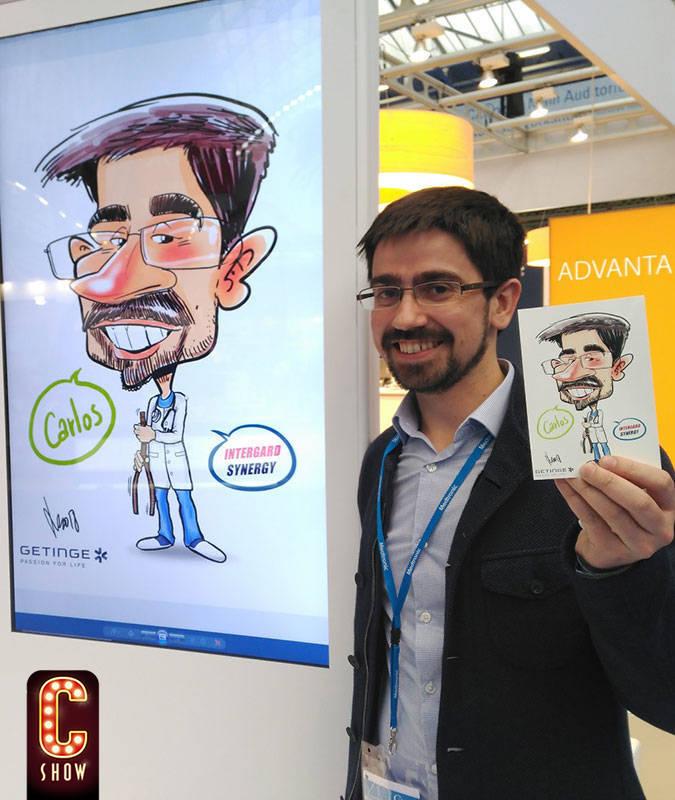 Caricatura digital en evento en Barcelona