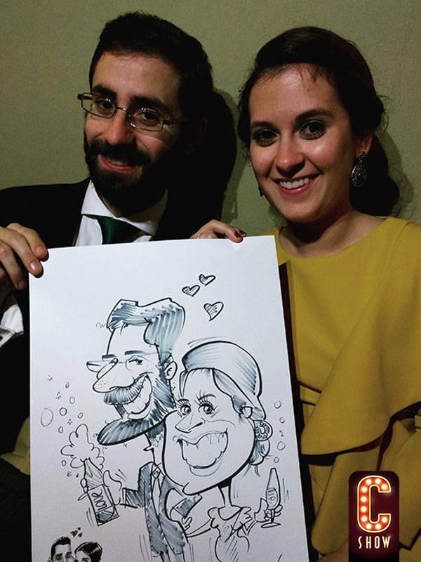 Caricatura en evento social para los invitados