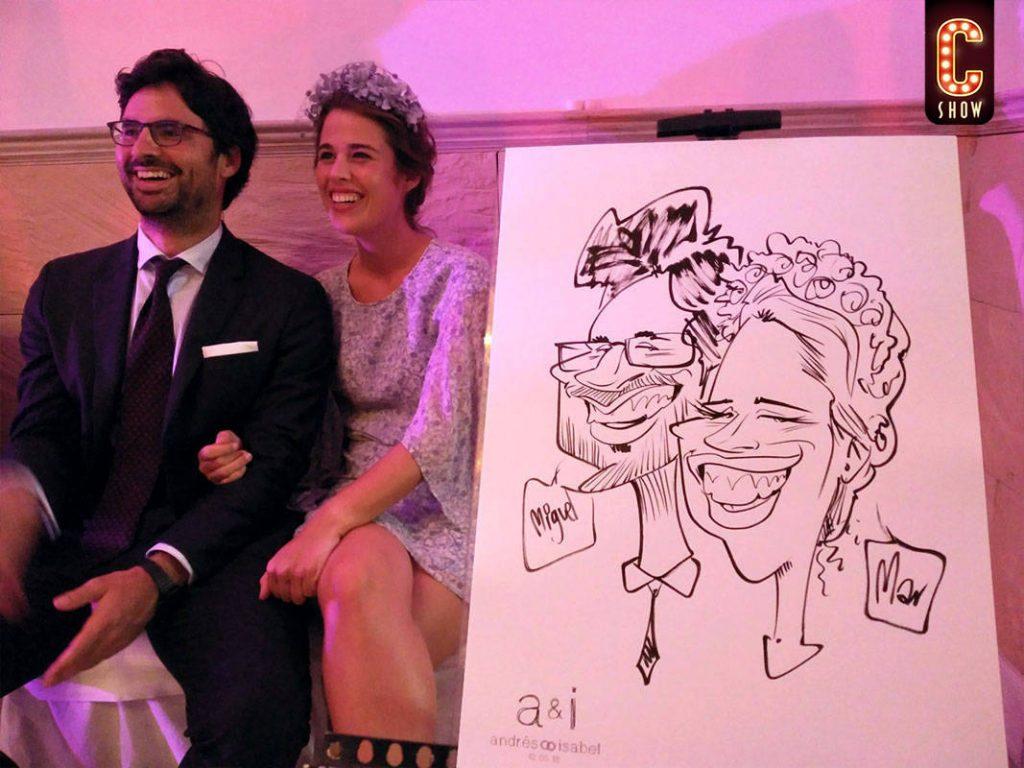 caricaturas en vivo en boda