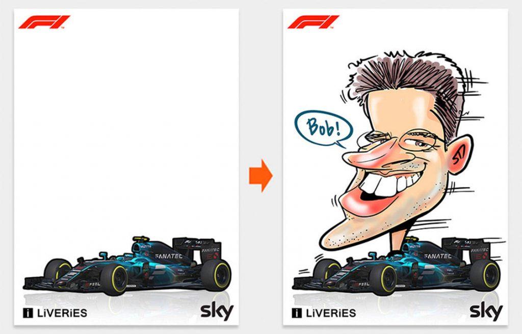 caricaturas personalizadas con coche de Formula1