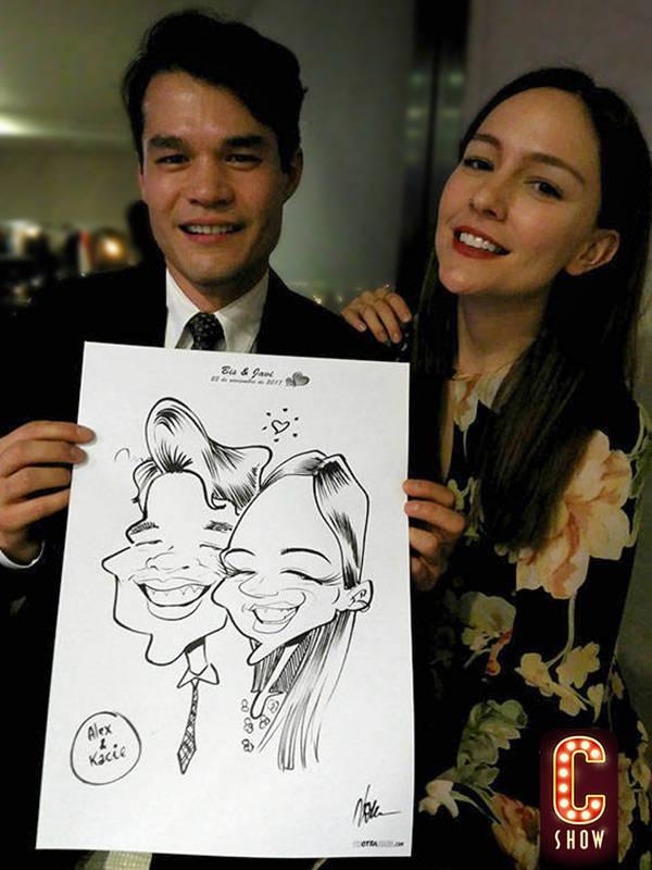 caricaturista en boda