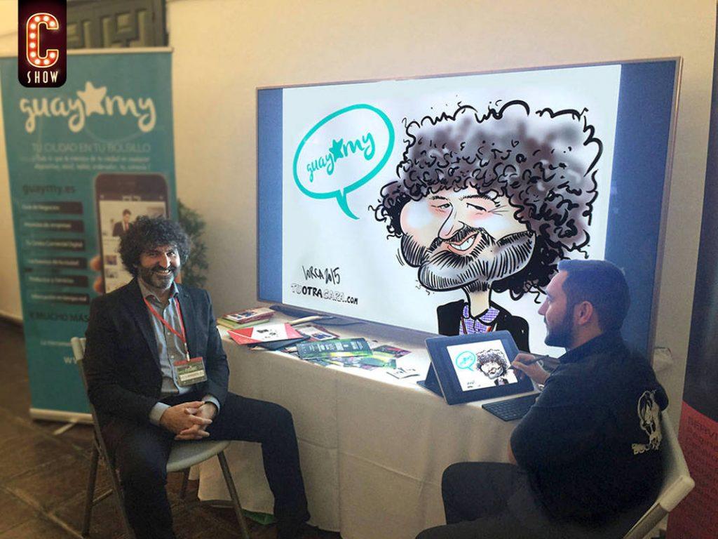 caricaturista digital en evento