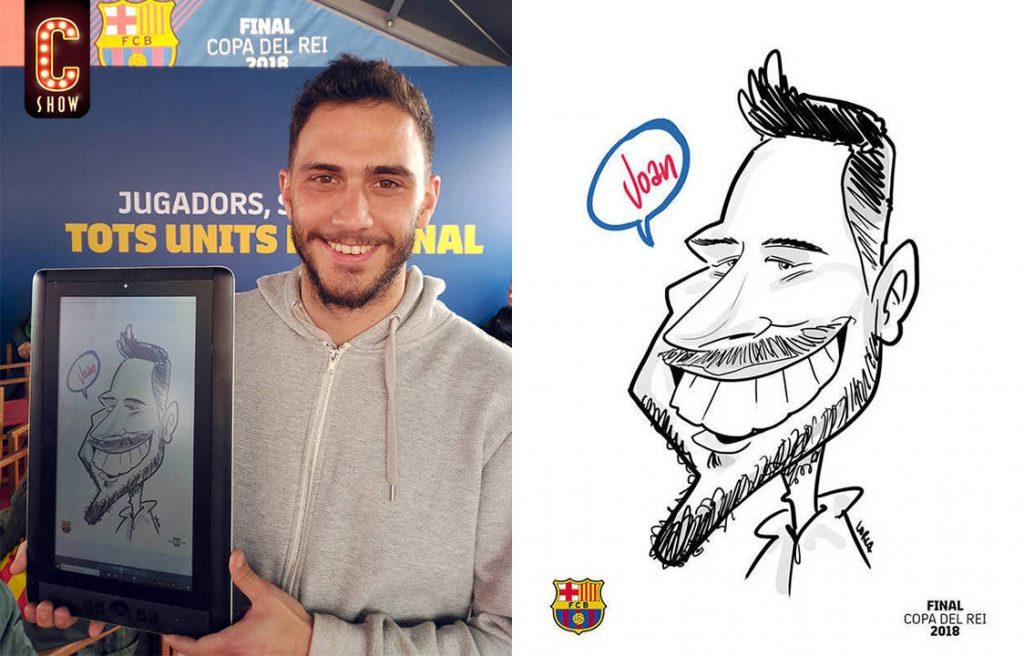 Caricaturista digital para evento de FCBarcelona