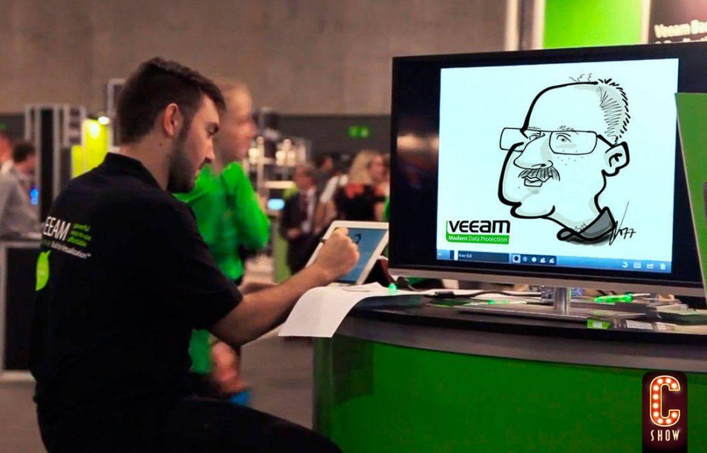 Caricaturista en directo en formato digital en evento