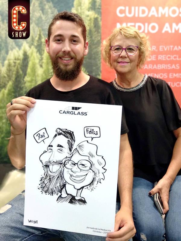 caricaturista en evento en Sevilla