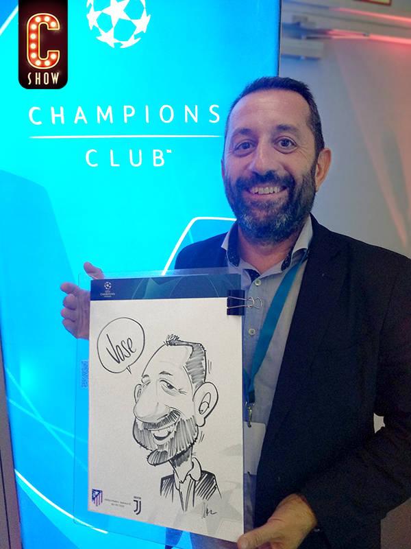 caricaturista en directo en evento de la Liga de Campeones