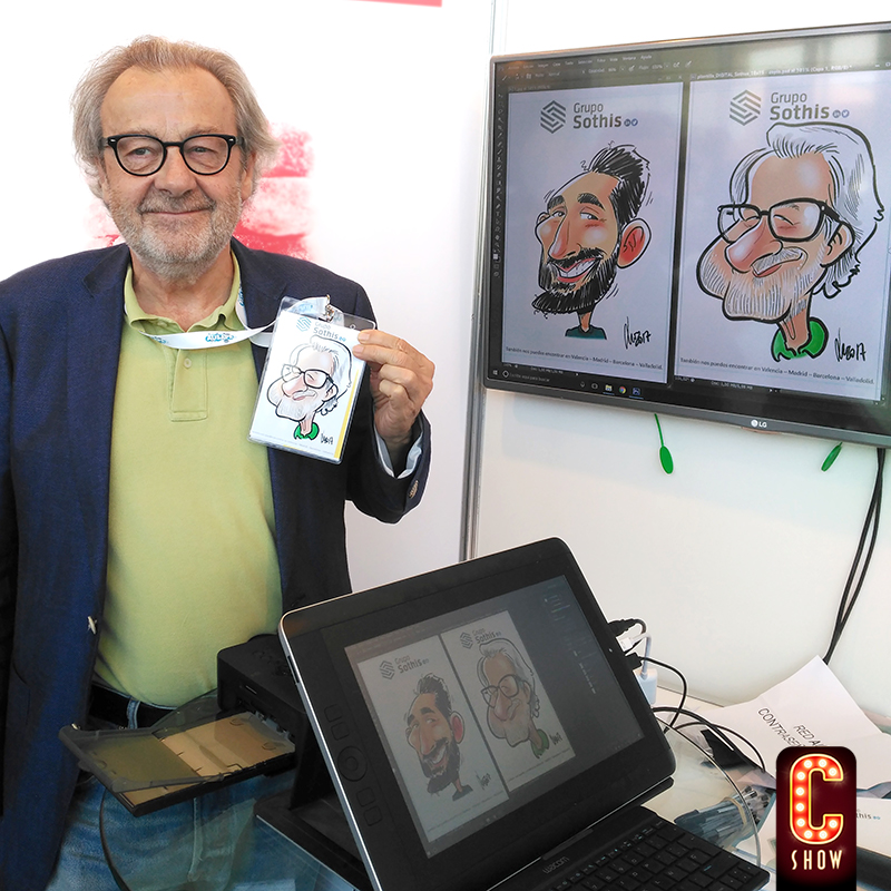 marketing digital en evento con caricaturas