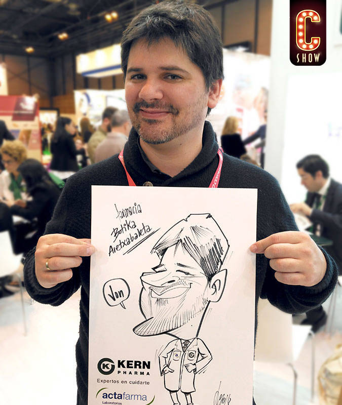 Bleisure event with caricature artist