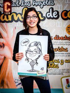 Caricatura promocional en centro comercial