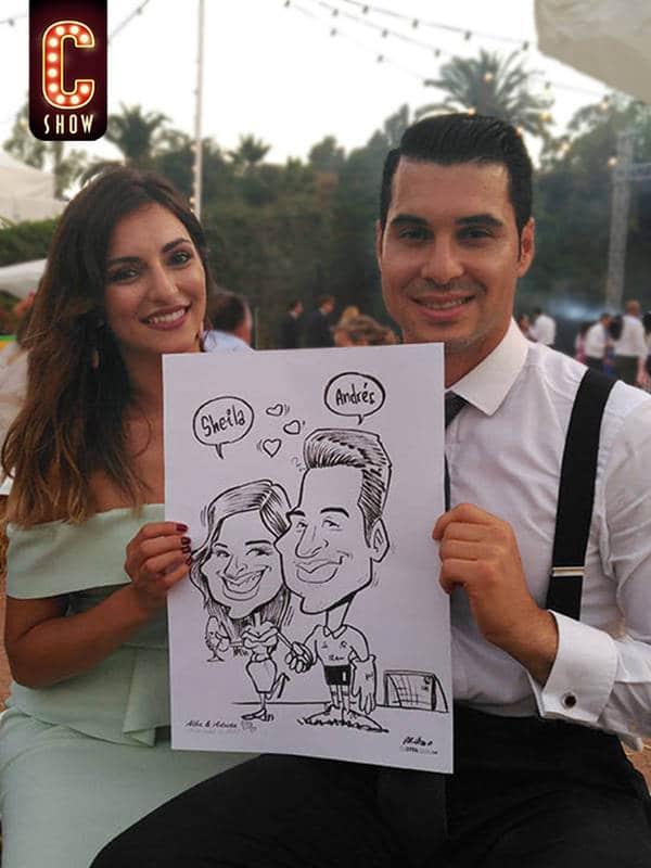 Caricature in Spain wedding