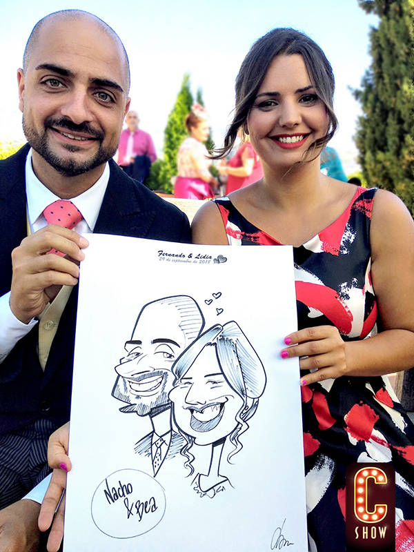 Caricature wedding guests