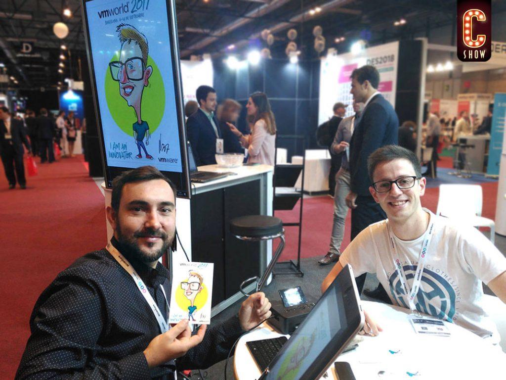 Caricaturist at Barcelona Mobile World Congress MWC Barcelona