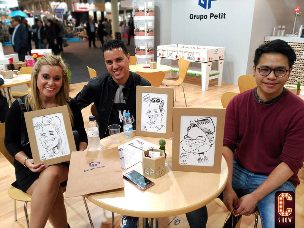 Corporate caricatures at exhibition