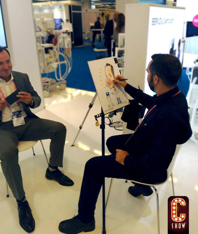 Live caricature artist for corporate event