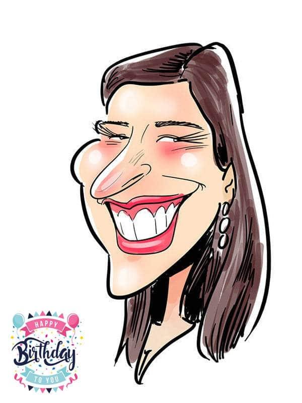 Digital caricature on iPad tablet