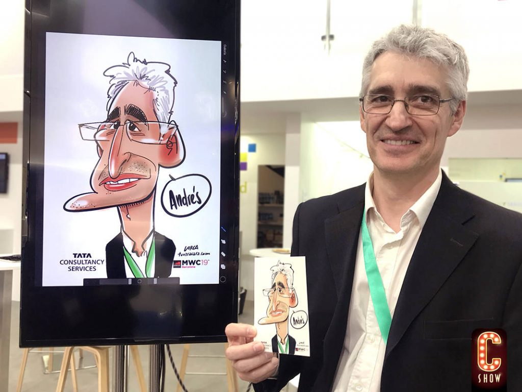 Digital caricature at trade show