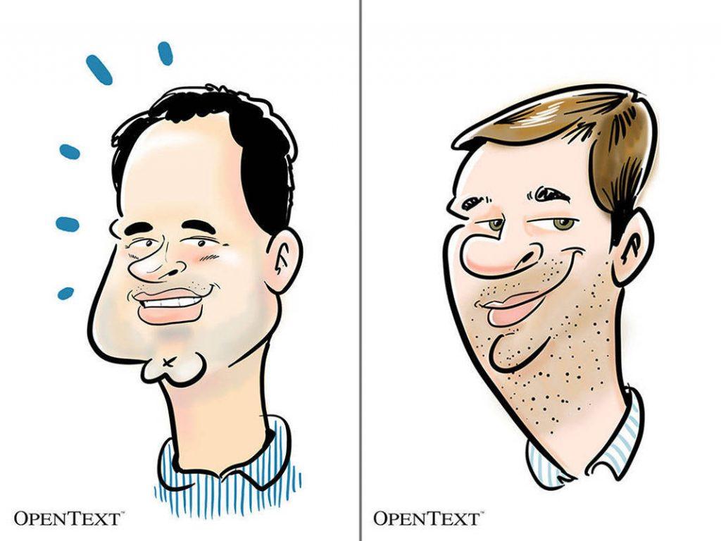 Digital caricature on iPad pro tablet