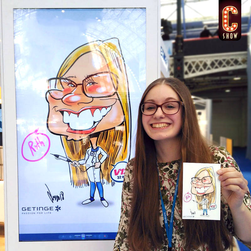 Digital caricaturist with tablet