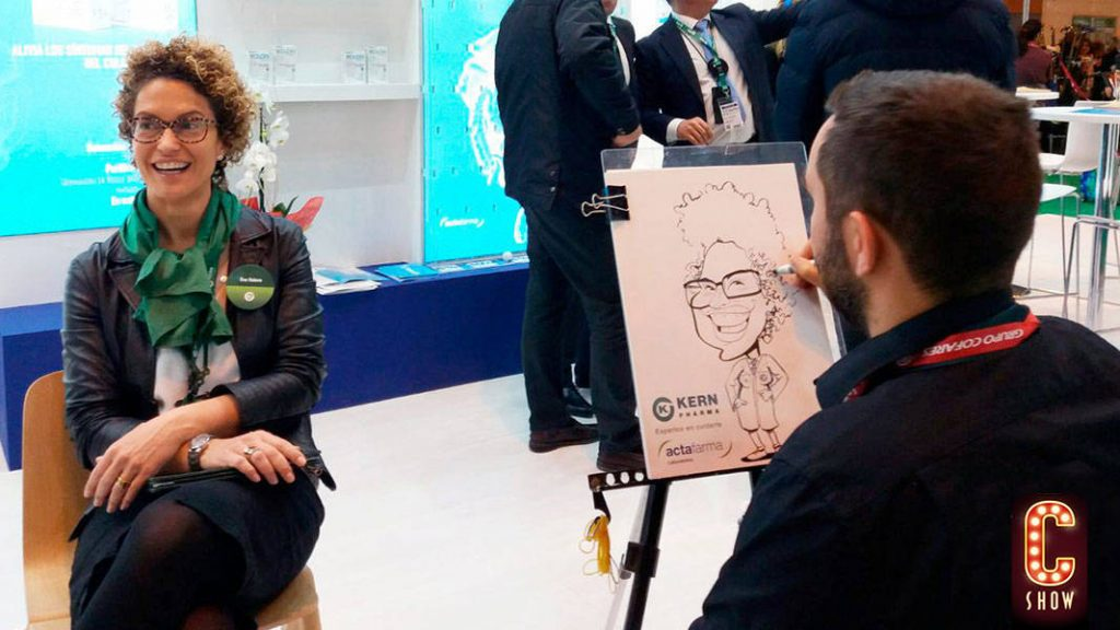 Face to face caricature for an exhibition stand