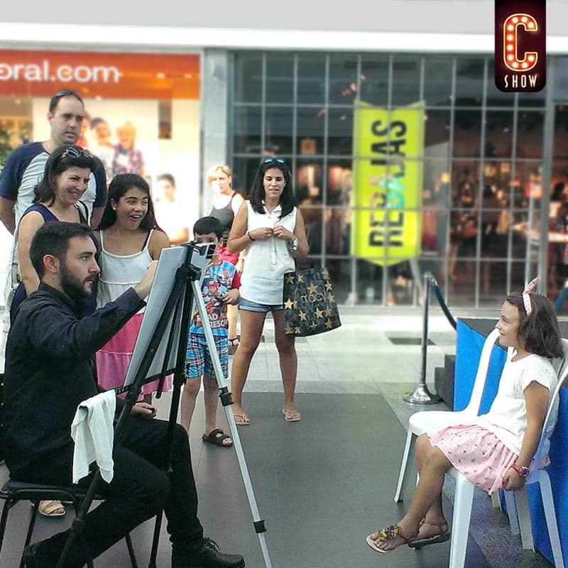 Face to face marketing caricature artist