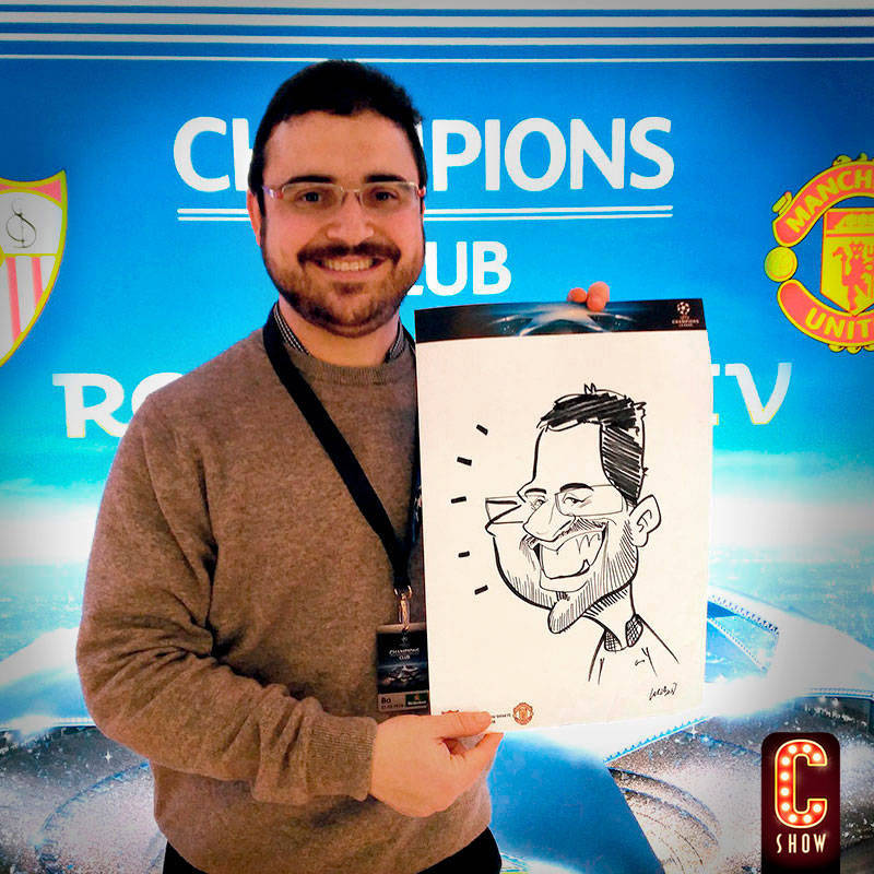 Face to to Face caricature at Champions League event