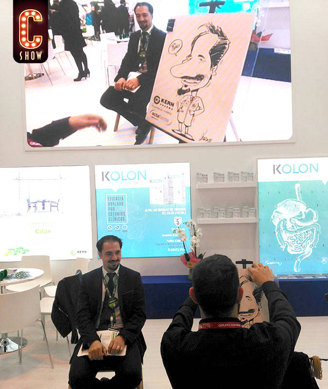 Live caricature artist at event