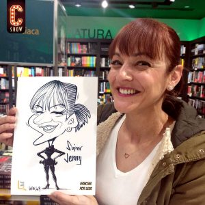 Live caricature in black and white