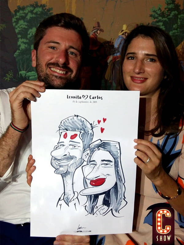 Live caricature at corporate party