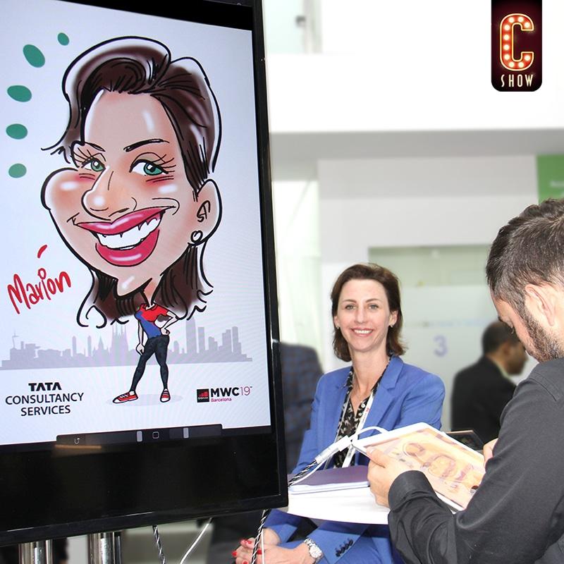 Live digital caricature artist with a big screen