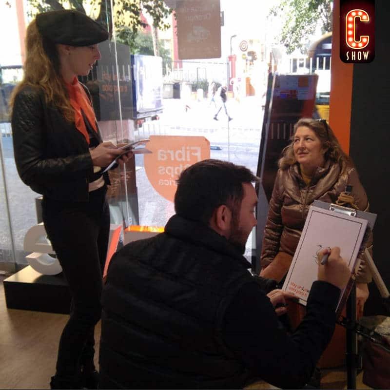 Street marketing with caricaturist