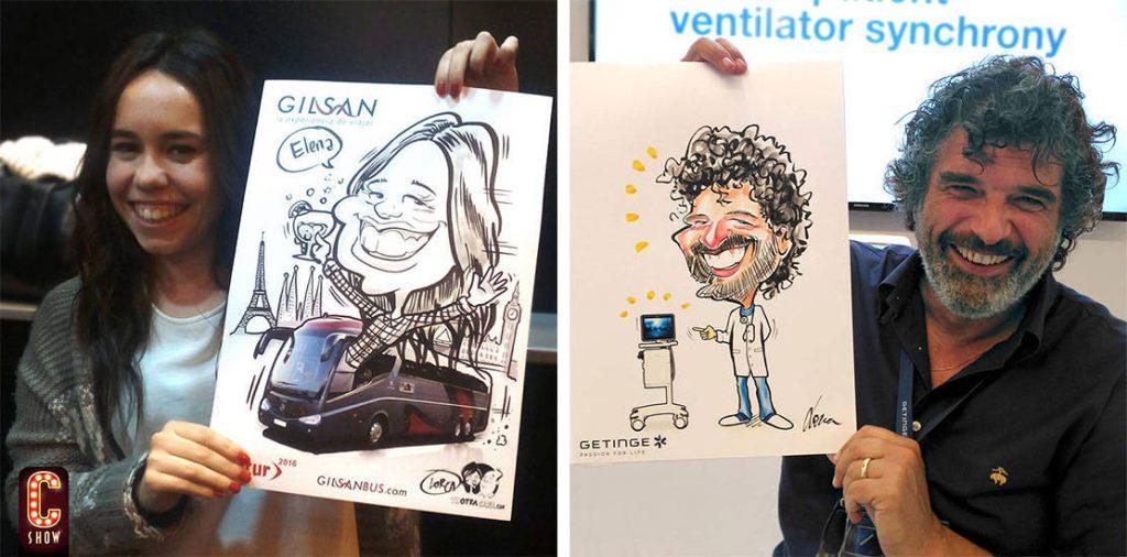 Caricatura corporativa en vivo en stand en feria