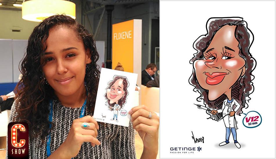 Caricatura digital en directo durante evento en Barcelona