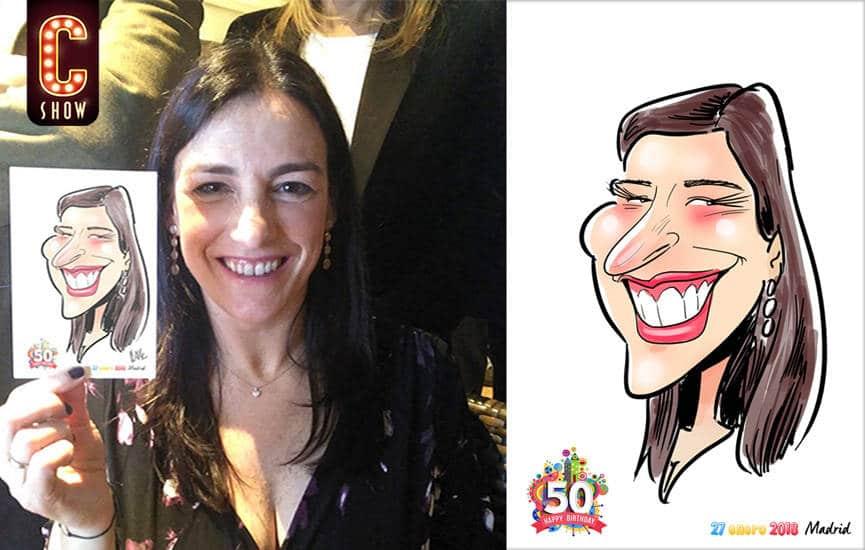 Caricatura digital en evento en Málaga