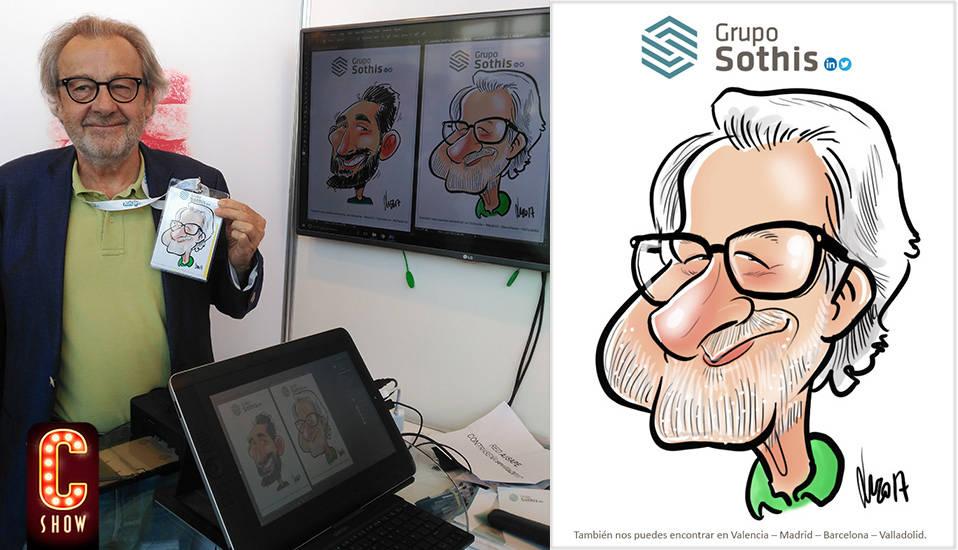 Caricatura digital en vivo impresa en papel