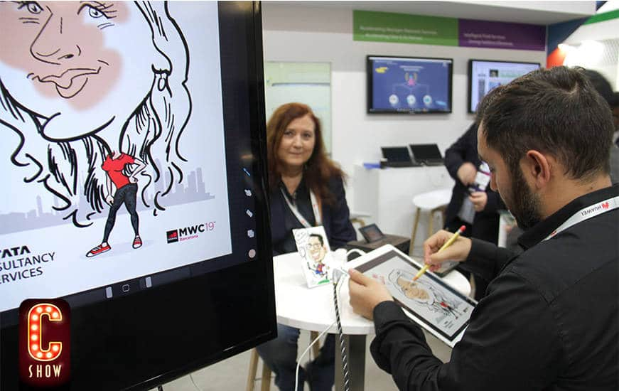 Caricatura digital en directo en el Mobile World Congress MWC