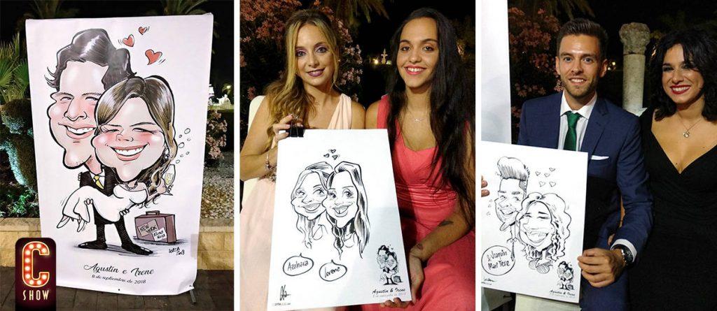 Caricaturas de invitados y novios para boda