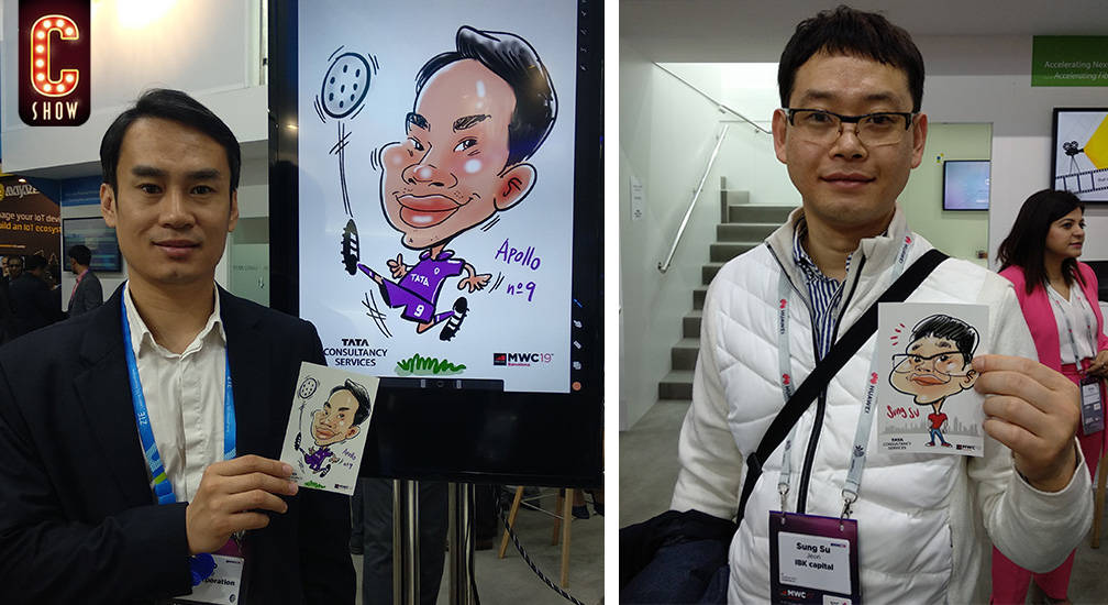 Caricaturas digitales en tablet en evento en Barcelona