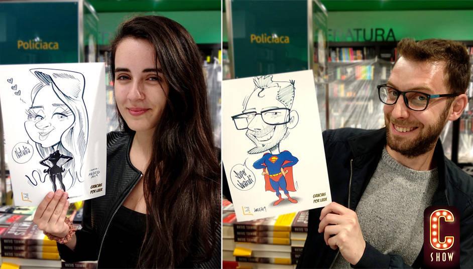 Caricaturas en vivo divertidas en evento con humor