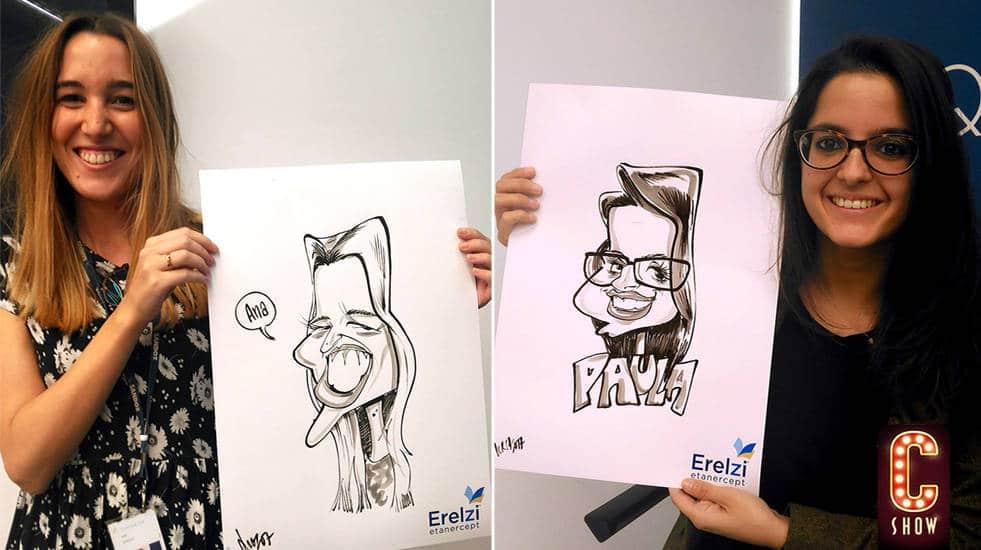 Caricaturas en vivo durante evento en Málaga