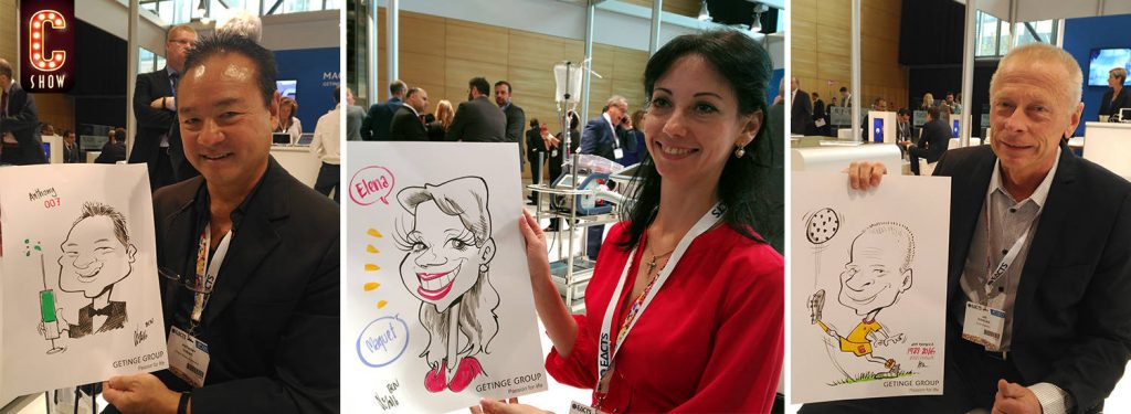 Caricaturas en vivo en evento en Madrid