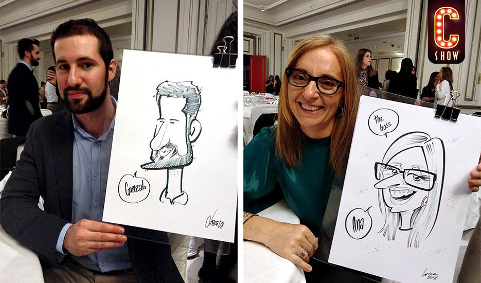 Caricaturas en vivo en evento corporativo