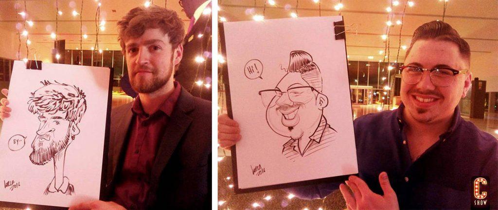 Caricaturas de los invitados a fiesta en Nerja