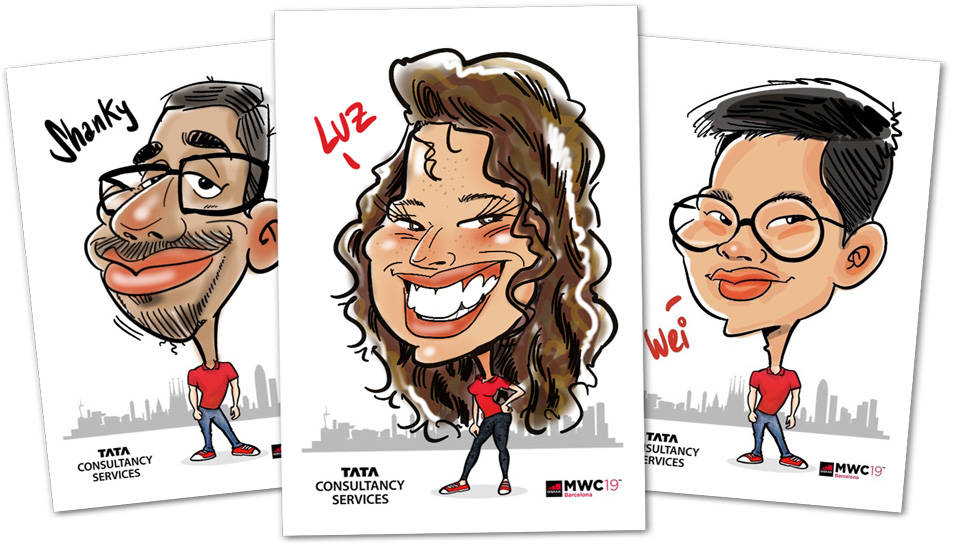 Caricaturas digitales en iPad en el Mobile World Congress