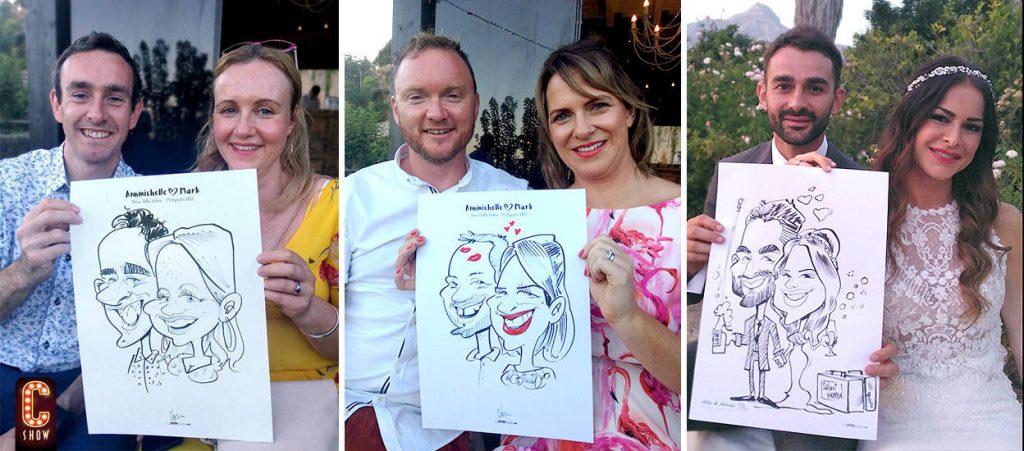 Caricaturista en boda dibujando  invitados y novios